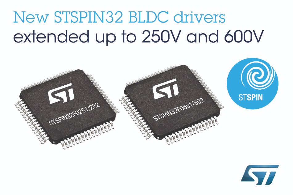 New STSPIN32 BLDC Drivers from STMicroelectronics Target High-Voltage Applications
