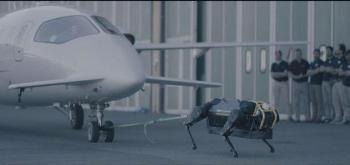 A New Version of Hydraulic Quadruped Robot Proved Capable of Pulling Airplane Weighing 3300 kg